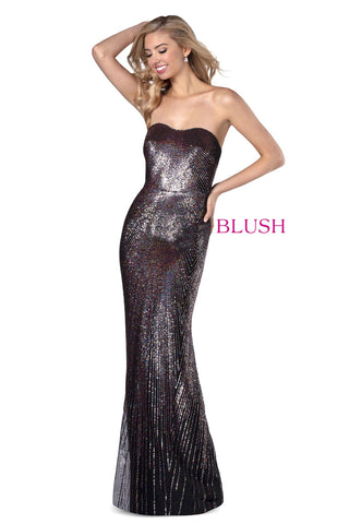 Blush Prom 11950 Long Fitted Strapless Sequin Prom Dress Black Multi Shimmer