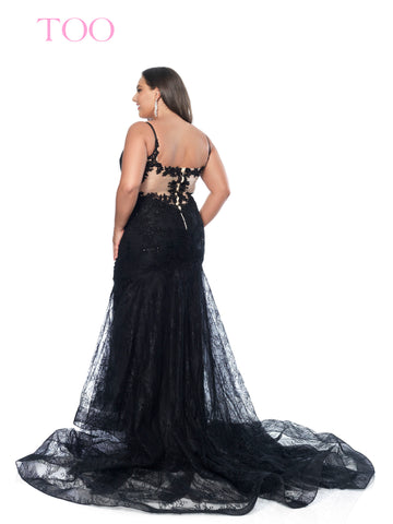 Blush TOO 11952W Long Sheer Lace Plus Size Prom Dress Pageant Gown Train V  Neck