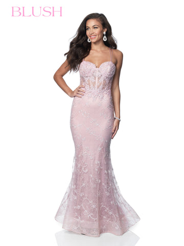 Blush Prom 11990 is a Lace Prom Dress, Pageant Gown & Formal Evening wear. This long Fitted Prom Dress Features a Sheer Corset with boning and a sweetheart neckline with spaghetti straps. Lace Appliques adorn the textured novelty fabric.   Available Sizes: 10  Available Colors: Mauve