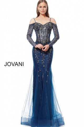 Jovani 1201 Illusion Bodice Lace Sleeve Pageant Dress Long Prom Sweetheart Neck