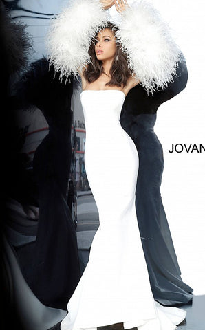 Jovani 1226 Long Fitted Formal Evening Gown Fur Sleeves White Dress Wedding