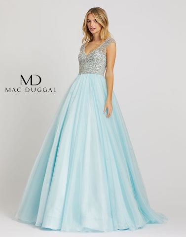 Mac Duggal 12266M - 12266 Long Tulle A Line Crystal Cap Sleeve Prom Dress Princess Gown Turn your Cinderella dreams into reality in style 12266M! This ice blue ball gown has a beaded bodice, cap sleeves, and v-neckline. This gown appeals a V-neckline with cap sleeves. The bodice is richly adorned with crystal beading and is styled with a V-back and a zipper closure. The skirt opens in a voluminous ballgown silhouette and finishes in a sweep train. Shimmer and shine in an ethereal gown from Mac Duggal. This