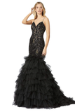 Mac Duggal 12291M - 12291 Long Black Sequin Fitted Mermaid Prom Dress Pageant Ruffle, Glittering Tulle Ruffles Evening Gown by Mac Duggal  brings you the ultimate glam look for your next special occasion. This dress has delicate straps and a V-neckline. The bodice is fitted and covered with tonal glittering accents for fabulous shine. The mermaid skirt boasts tiered tulle ruffles and finishes with a full length hem.