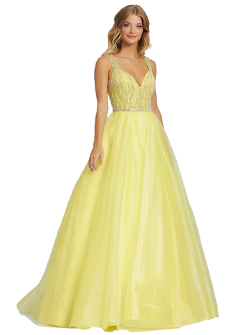 Mac Duggal 12317H Long A Line Tulle Formal Ballgown Prom Dress. Have the perfect prom in style 12317H! This ballgown has a silver embellished bodice, v-neckline, and embellished straps.  Long A Line Prom Dress Ballgown V Neck Formal Pageant. Available Sizes: 0,2,4,6,8,10,12,14,16  Available Colors: Aqua, Lemon