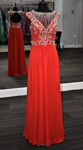 JVN by Jovani style 31435 sleeveless beaded gown in Red size 6