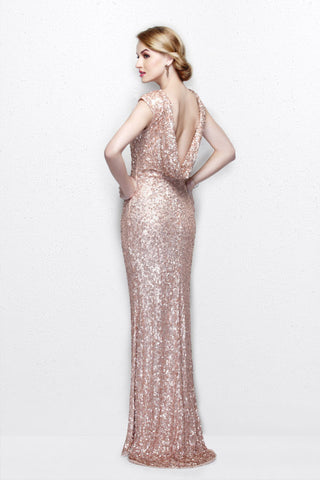 Primavera Couture 1256 cap sleeve bateau neckline prom dress Sequin Backless