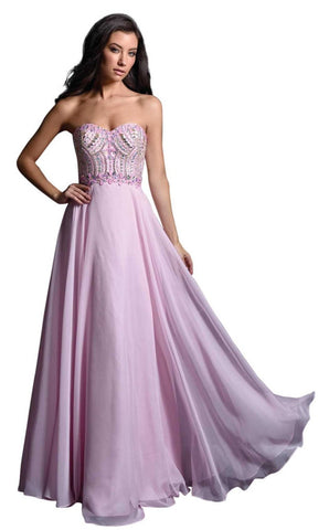 Nina Canacci 1260 Size 2 Long A Line Strapless Pink Prom Dress Embellished Top
