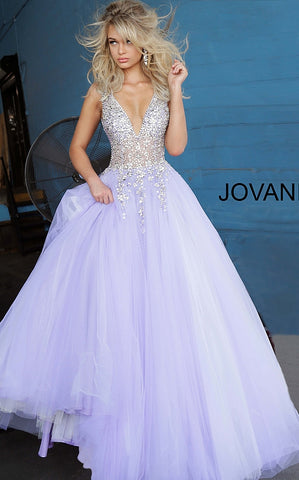 Jovani 1310 Long Off White Tulle Ballgown Prom Dress Sheer Bodice Wedding Dress