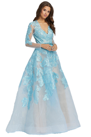 Mac Duggal 12347M - 12347 is an  A Line Sheer Embroidered Lace Long Sleeve Formal Dress Plus Size. Show off a one of a kind look in this floral lace ballgown. Style 12347M has sheer long sleeves, a v-neckline, and an embellished belt. This ball gown is available in ice blue and black. Show off a one of a kind look in this floral lace ballgown. Style 12347M has sheer long sleeves, a v-neckline, and an embellished belt. Mother of the Bride/Groom Dress. Wedding Guest for Plus Size! Available Sizes: 2,4,6,8,10,