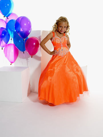 Tiffany Princess 13266 Size 10 Orange Girls Pageant Dress Corset ball gown
