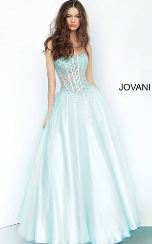 Jovani 1332 Sheer Corset Embellished Tulle Ballgown Prom Dress Formal Gown 2020
