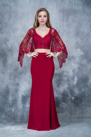 Nina Canacci 1340 two piece long dress with lace bell sleeve top   Color;  Burgundy