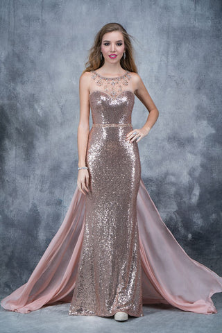 Nina Canacci 1346  sequin prom dress Rose Gold size 4