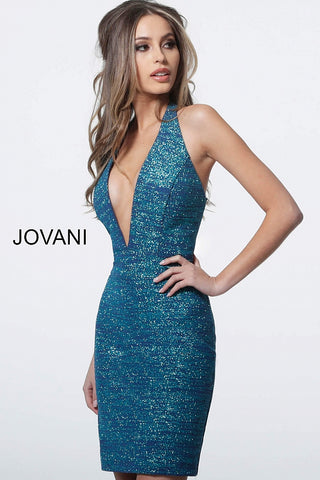 Jovani 1352 Homecoming Dress Glitter Halter Neckline Cocktail Gown Prom Shimmer 2020