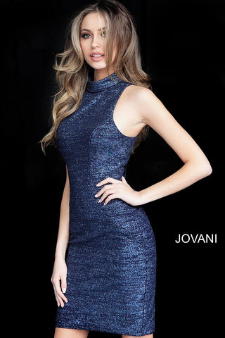 Jovani 1353 Navy High Neck Sleeveless Fitted Cocktail Dress