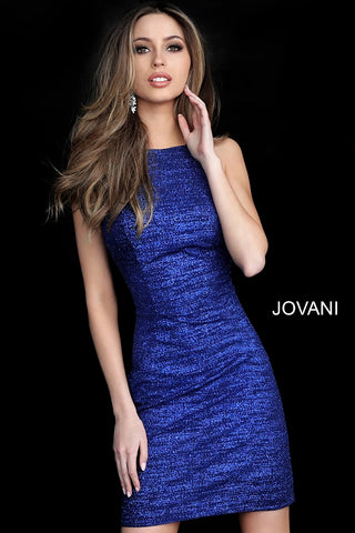 Jovani 1355 Backless Fitted Glitter Cocktail Dress