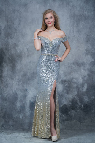 Nina Canacci 1361 off the shoulder sequin prom dress in silver size 4
