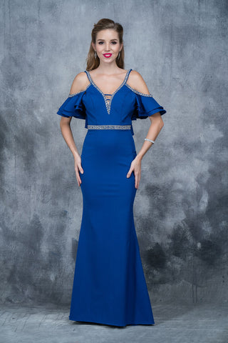 Nina Canacci 1375 cold shoulder prom dress  in Royal size 2
