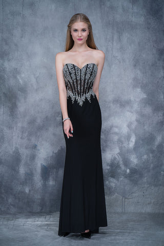 Nina Canacci 1378 sweetheart neckline beaded corset bodice fitted long dress in Black size 6