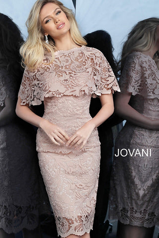 Jovani 1401 Light Pink lace knee length fitted cocktail dress