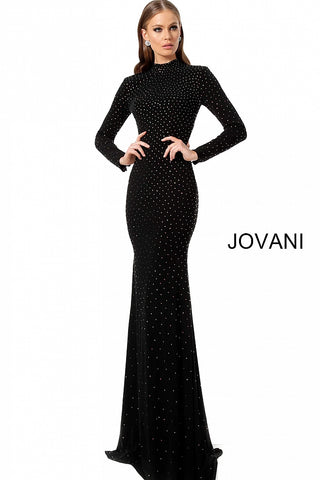 Jovani 1459 Black Long Fitted Jersey High Neck Long Sleeve Prom Dress Embellished