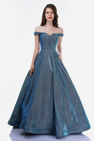 Nina Canacci 1470 Iridescent Shimmer Off the Shoulder Ballgown Prom Dress Pockets