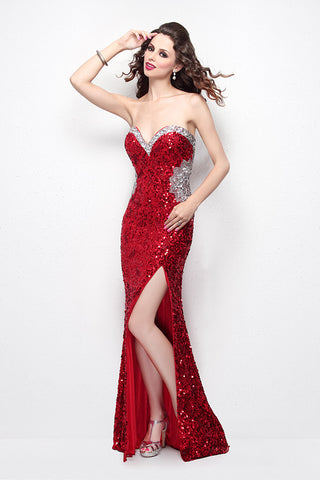 Primavera Couture 1471 Size 6 Long Sequin dress Slit Backless Pageant Gown