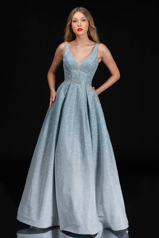 Nina Canacci 1479 is a long lace Ombre Pleated Ballgown Prom Dress Featuring Pockets. This formal evening gown has a plunging v neckline with an embellished waistband. Open V back. Great Iridescent Glitter Shimmer Fabric.  Available Sizes: 4-18  Available Colors: Ice Blue, Mint