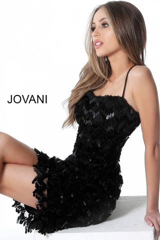 Jovani 1480 Black Pailette sequin short cocktail party formal dress backless mini skirt