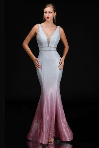 Nina Canacci 1481 is a long Iridescent Shimmer Ombre Color Shifting Prom & Pageant Dress. Featuring a Plunging Deep V Neckline. Crystal Rhinestone waistband. Open V Back. Great Glitter Formal Evening Gown.   Available Sizes: 2-16  Available Colors: Silver/Navy, Silver/Blush