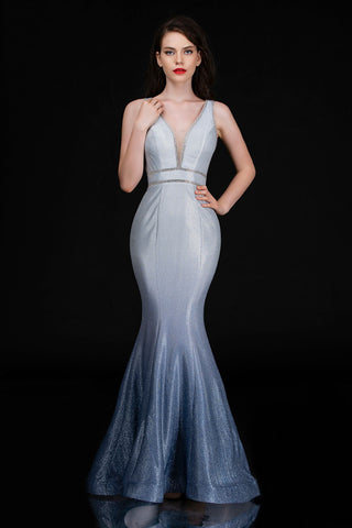 Nina Canacci 1481 Long Iridescent Shimmer Ombre Mermaid Prom Dress Pageant