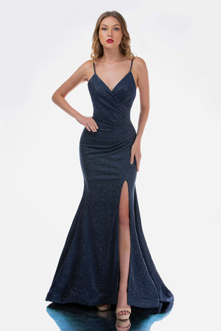 Nina Canacci 1483 Long Glitter Ruched V Neck Prom Dress Evening Gown Slit Sexy