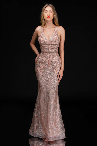 Nina Canacci 1487 Long Glitter Fit & Flare Prom Dress Plunging Corset Evening Gown