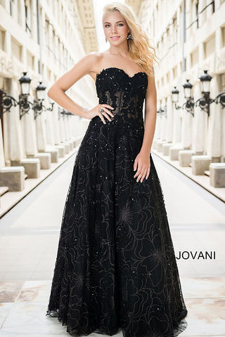 Jovani 14913 sweetheart neckline sheer embellished bodice lace A-line dress