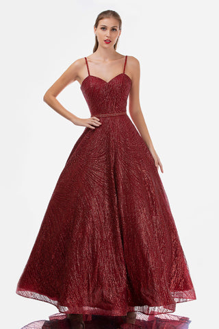 Nina Canacci 1492 Glitter Burgundy Ballgown Sweetheart Formal Dress Prom Gown