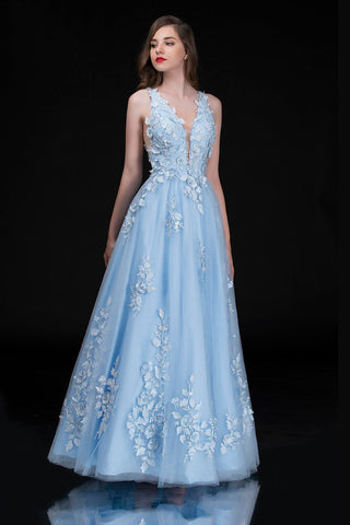 Nina Canacci 1495 is a long 3d Floral Applique embellished Deep V Neck Prom Dress. This Romantic formal gown features embellished floral appliques cascading into the tulle A Line Ballgown Skirt. Great Formal dress.  Available Sizes: 0-10  Available Colors: Ice Blue, Ivory
