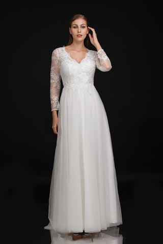 Nina Canacci 1501 Long Sheer Lace V Neck Wedding Dress A Line Tulle Gown