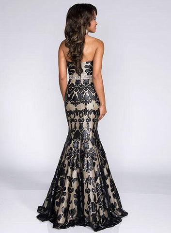 Envious Couture 15139 Black Nude Size 00 Long Fitted Mermaid Prom Dress Sequin Gown