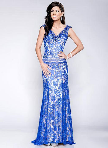 Envious Couture 15171 is a Long Lace Evening Gown Featuring a V neck and wide straps with cap sleeves with crystal embellishments. Low open back design with embellished edges. Elegance at its best! Great prom dress, military ball gown or evening gown.   Available in Royal/Nude Size 00, 0, 2
