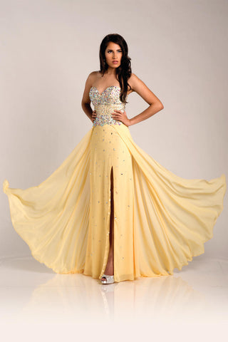 Envious Couture 15211 yellow sizes 0, 2, 16 embellished sweetheart neckline flowy chiffon A line prom dress with side slit evening gown pageant gown  Available Sizes: 0,2,16  Available Colors: Yellow
