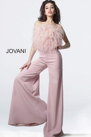 Jovani 1542 Blush Strapless Feather Bodice Contemporary Jumpsuit 1542