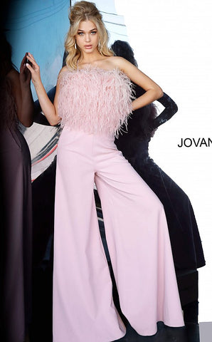 Jovani 1542 Blush Strapless Feather Bodice Contemporary Jumpsuit 1542 Pageant Wear  Long Wide Leg Prom Pageant Jumpsuit Ostrich Feather Jump Suit Available Sizes: 00-24  Available Colors: Black, Blush, White