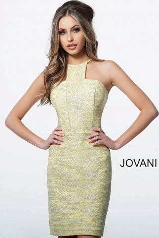 Jovani 1558 Yellow Silver Glitter Form Fitting Short Homecoming Dress