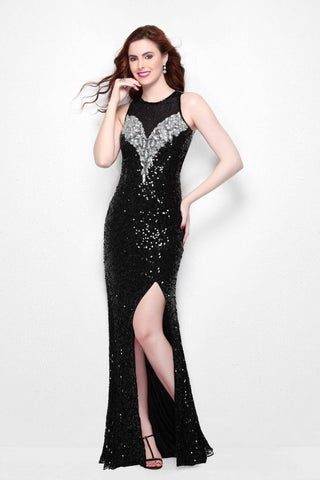 Primavera Couture 1572 is a high neckline outlined in illusion crystal and bead work. circle cutout open back with slit in skirt, backless halter sleeve. sequin long prom dress in stock Prom Dress Pageant Gown Evening gown