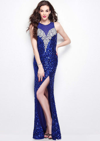 Primavera Couture 1572 Blue size 0 sequin long prom dress