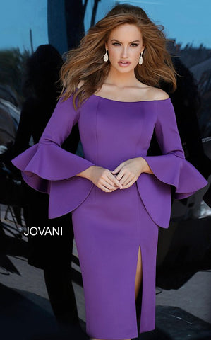 Jovani 1587 knee length bell sleeve scuba cocktail dress Evening Party Gown