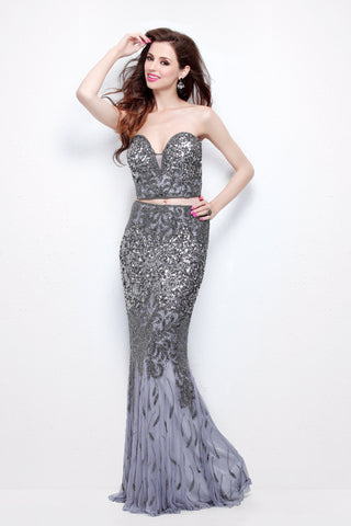 Primavera Couture 1595 Platinum Size 8  Primavera Couture 1595 two piece beaded mermaid prom dress with sweetheart neckline and flowy mermaid long skirt Sequin & Beaded bodice two piece design with a strapless sweetheart neckline.  Available Size: 8  Available Color: Platinum