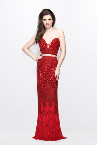 Primavera Couture 1595 Two Piece Beaded Mermaid Prom Dress Red Size