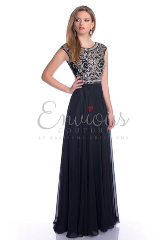 Envious Couture 16050 Black sizes 6, 10 beaded cap sleeve embellished top with open back flowy chiffon A line prom dress evening gown
