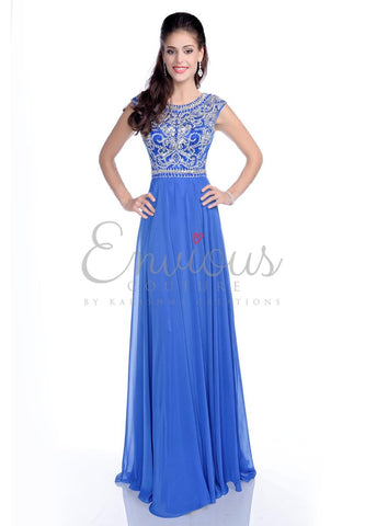 Envious Couture 16050 Royal blue sizes 00, 2, 6 embellished high neckline cap sleeve top with open back flowy chiffon A line prom dress evening gown